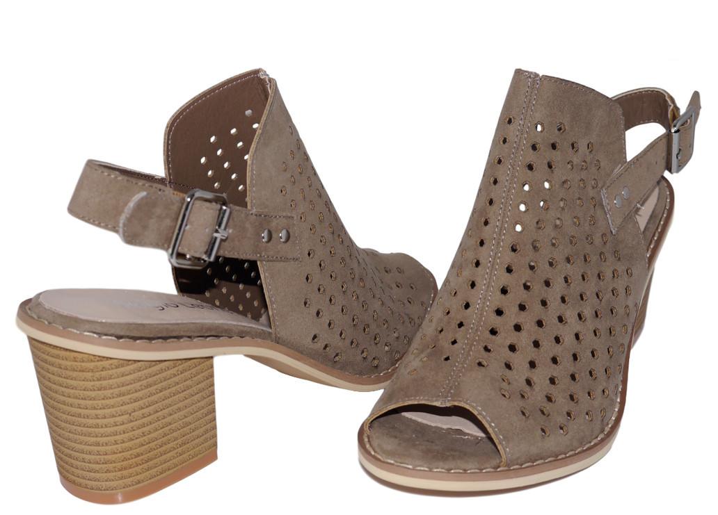 Sandały damskie ażurowe Sergio Leone 50891coffe
